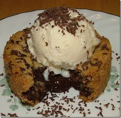 Molten Lava Chocolate Chip Cookie. Plugged it into weight watcher recipe builder and if you make these in a cupcake pan (24) then one would be 8 pointsplus. You could then use frozen Fat Free Cool Whip to top it off (like ice cream!) for 0 pointsplus!
