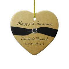 Shop Anniversary Photo Gold Black Ribbon Diamonds Ceramic Ornament created by dmboyce. 50th Anniversary Gifts, Golden Anniversary, Anniversary Invitations, Anniversary Photos, Photo Gold, Black Ribbon, White Porcelain, Black Gold, Diamonds