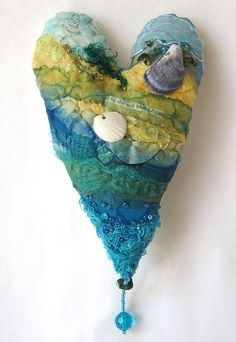 RESERVED FOR LUANN - a textile art heart inspired by turquoise blue and aqua green seas beach seaside Carolyn Saxby, Valentine Day Gifts, Valentines, Fabric Hearts, Textiles, Beach Crafts, Felt Fabric, Fabric Manipulation, Textile Artists