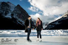 Banff/Lake Louise Winter engagement, skating engagement photos, lifestyle portraits, outdoor portraits, www.kimpayantphotography.com