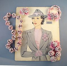 Circa 1940 Frank Hess designed necklace, bracelet, and three clips jewelry parure with original illustration art work by Larry Austin. The set is made of lovely pink and white glass beads, pink pressed glass leaves, and glass beads sewn onto metal half-spheres. Larry Austin original design advertising illustration art work. Circa 1940. Miriam Haskell