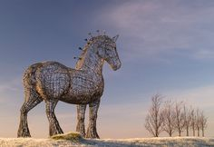 Andy Scott is the sculptor of a Clydesdale Horse that has become one of the best known artworks in Scotland.  Sited beside the M8 motorway between Glasgow and Edinburgh, it stands 4.5 metres tall at the head and is made of galvanised steel round bars.