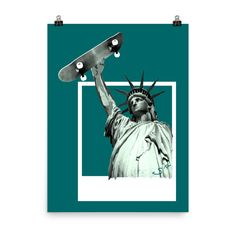 """Excited to share the latest addition to my #etsy shop: Skateboard Statue of Liberty Skater Polaroid Photo paper poster 18""""x 24"""" http://etsy.me/2CqJkh6 #art #print #digital #statueofliberty #skateboard #ladyliberty #libertyskateboard #poster #graphicart"""