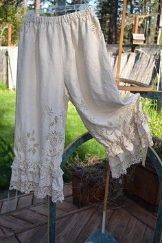 Vintage tablecloth bloomers with vintage crochet trim ruffles. Lucky Penny Wear.
