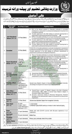 technical and vocational education and training tvet reform  ministry of education and vocational training islamabad jobs 2016