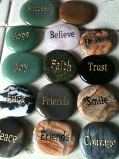 Engraved Word Stones 500 by shama on Etsy, $5.00