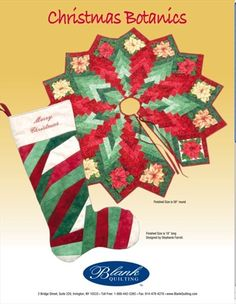Christmas Botanics Stocking and Tree Skirt Pattern (free) ... though the fabrics originally called for are long out of print, you could easily make this up using any large-scale Christmas floral fabric, plus Moda Marbles or any blenders that you have in your stash. So... if you already have a lot of blenders or tonals, all you need to buy is just the floral! (Budget-friendly!)