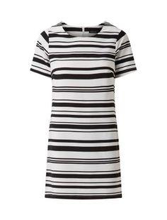 Black Lightweight Stripe Print Tunic Dress  | New Look