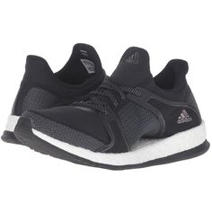 adidas Pure Boost X TR (Black/Onix/White) Women's Cross Training Shoes (£92) ❤ liked on Polyvore featuring shoes, athletic shoes, white lace up shoes, black lace up shoes, adidas, adidas shoes and mesh shoes