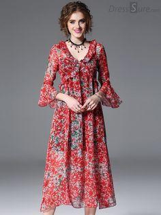 Buy Elegant Floral V-Neck Flare Sleeve Print Skater Dress with High Quality and Lovely Service at DressSure.com