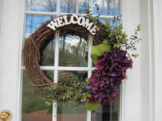 MUST HAVE!!   #wreath Grapevine wreath with purple hydranga flowers front by NMFdesign, $30.00