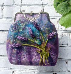 "Felted Bag Handbag Purse Felt Nunofelt Nuno felt  Eco handmadered bag Fiber Art  a gift for woman ""Where lavender blossoms"":"