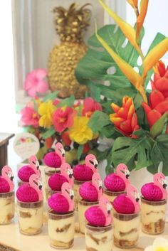 Pudding cups at a Hawaiian Flamingo birthday party! See more party ideas at CatchMyParty.com!