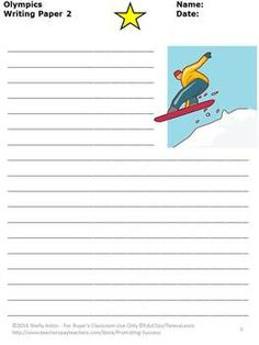 FREEBIE!  Winter Olympics FREE: Here are three sample Olympic writing papers. There are so many used for these pages! Your students will be motivated to write! Enjoy!