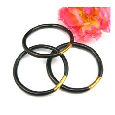 Three Black Coral Bangle Bracelets  Brass by AtticDustAntiques, $195.00