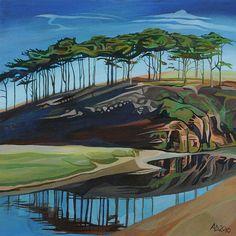 Anna Dillon - The Budleigh Trees  Acrylic on canvas