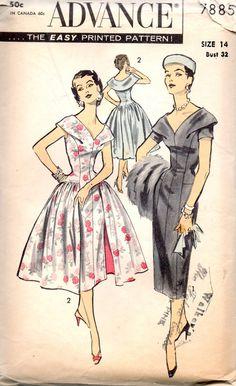 Advance 7885 1950s  Misses Deep V Neck Dress Pattern Slim or Full Skirt Overskirt womens vintage sewing pattern by mbchills