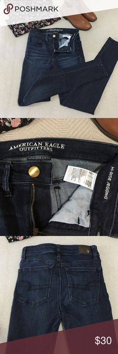 American Eagle denim x cafe hi rise skinny jeans Size 2. Very dark wash. Have been worn three times tops. Very stretchy and comfy !! American Eagle Outfitters Jeans Skinny