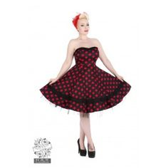 Robe Bustier Pin-Up Rétro 50's Rockabilly Pois Noir Rouge