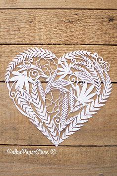 Sculpture de coeur papier plein de fleurs par PolkaPaperStore