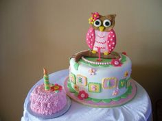 The mom asked for a girly owl themed cake. I came up with this design after seeing a picture of one of the party decorations she bought. The babys name (turning one) is BRESLYN Owl 1st Birthdays, Owl Birthday Parties, Birthday Cake Girls, Baby First Birthday, Birthday Ideas, Kid Parties, Birthday Cakes, Owl Cakes, Cupcake Cakes