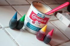 Arts and Crafts for Kids: Painting with condensed milk and food coloring