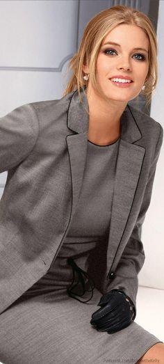 Office Elegance Lawyer Fashion, Office Fashion, Grey Fashion, Work Fashion, Fashion Clothes, Women's Fashion, Business Chic, Business Attire, Business Fashion