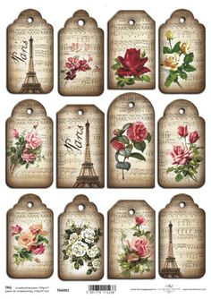 Scrapbook Paper Gift & Hang Single Sheet 12 Tags Eiffel Tower And Roses Vintage Tags, Vintage Labels, Vintage Prints, Vintage Style, Decoupage Vintage, Vintage Paper, Paper Tags, Paper Gifts, Card Tags