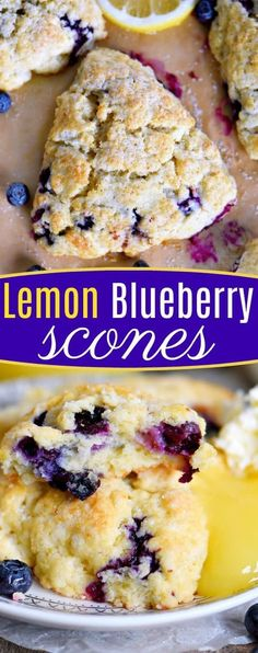 This Lemon Blueberry Scones recipe is a delightful addition to any breakfast or brunch! Fresh blueberries and loads of lemon zest add an irresistible freshness to these easy to make scones. Serve with lemon curd and cream for an afternoon tea experience e Breakfast And Brunch, Breakfast Dishes, Breakfast Scones, Brunch Cake, Brunch Menu, Breakfast Casserole, Köstliche Desserts, Delicious Desserts, Dessert Recipes
