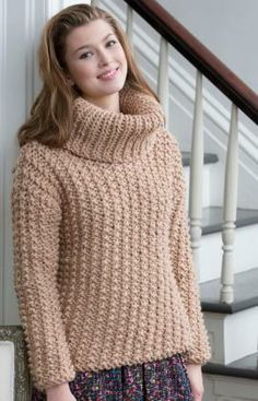 Chunky Textured Sweater Free Knitting Pattern from Red Heart Yarns