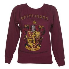 Ladies Harry Potter Gryffindor Team Quidditch Sweater ($46) ❤ liked on Polyvore featuring tops, sweaters, purple sweater and purple top