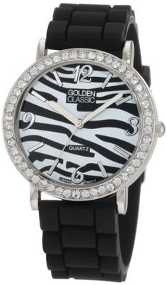 Golden Classic Women's 2199-Black Instinct Exotic Zebra Print Dial Rubber Band Watch Golden Classic. $19.80. Silver metal rhinestone encrusted bezel. Water-resistant. Zebra print dial with silver hour markers. Black silicone strap with adjustable buckle. Highest standard parts quartz movement. Save 45% Off!
