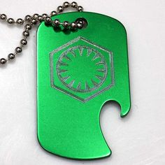 "Force Awakens Star Wars Green Key Chain 4"" Chain Dog Tag Bottle Opener EDG-0158"