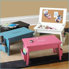 So cool! Learn how to build a portable workstation with flip-up storage for your little one!
