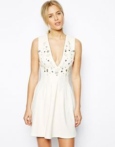 ASOS Skater Dress with Lace and Embellishment   I want to wear this to prom so badly yikessssss