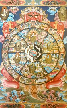 Beautiful Wheel of Life Thangka painting.