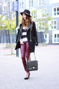 Burgundy leather pants - preppyfashionist.com