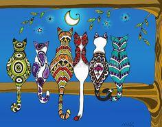 "Pop Art Zentangle Cats Lovers Moon Color"" Posters by wildwildwest . Pop Art Drawing, Cat Drawing, Zen Doodle, Doodle Art, Tableau Pop Art, Frida Art, Cat Quilt, Whimsical Art, Rock Art"