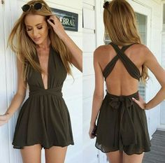 Army Green Plain Tie Back Cross Back Plunging Neckline Short Jumpsuit