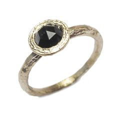 Diana Porter Jewellery unique black rose cut diamond yellow gold engagement ring