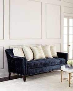 Shop designer sofas and sectionals at Horchow. Go for a sleek look with these tuffed sofas and soft couches. Furniture Dolly, Sofa Furniture, White Furniture, Luxury Furniture, Interior Design Living Room, Living Room Designs, Kitchen Interior, Kitchen Decor, Blue Couches