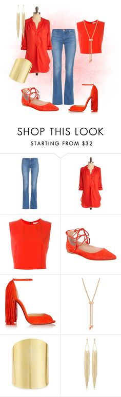 """""""McCool Red"""" by divafiercecom ❤ liked on Polyvore featuring M.i.h Jeans, PAM, Alice + Olivia, Sigerson Morrison, Christian Louboutin, Vita Fede, Lydell NYC and Panacea"""