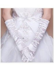 Satin Fingertips Elbow Length With Bead Wedding Gloves