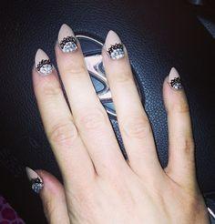 Nude lace stiletto nails
