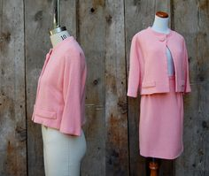 c. 1960s pink wool suit vintage 60s Jackie O by coarticulation