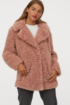 Short Faux Shearling Coat - Powder pink - Ladies | H&M US