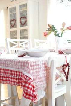 gingham tablecloth with lace overlay