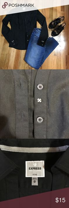Express portfolio shirt Never before worn! In excellent condition. Can be unbuttoned at each sleeve so they can be worn rolled up or down. A nice detail is the extra button in the middle of the chest for extra coverage, as shown in the 2nd picture. 60% cotton, 35% polyester, 5% spandex. Express Tops Button Down Shirts