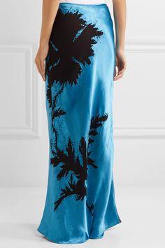 Topshop Unique - Eltham Devoré Satin Maxi Skirt - Bright blue - UK14