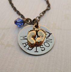 New Baby - New Mom - Hand-Stamped Necklace- Personalized Brass Pendant - so very sweet!